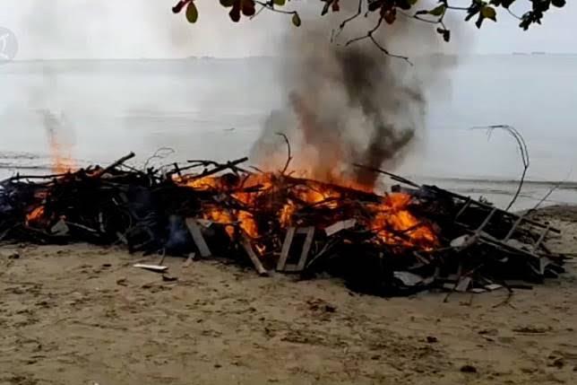 Membusuk di Pantai Balikpapan, Bangkai Ikan Paus Akhirnya Dibakar