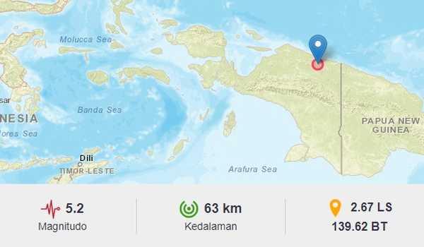 Gempa Kedua Kembali Guncang Jayapura dengan Magnitudo 5,2